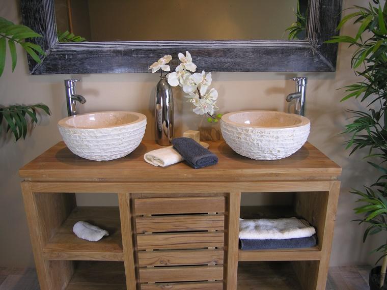 mobile bagno legno lavabo moderno decorazione floreale