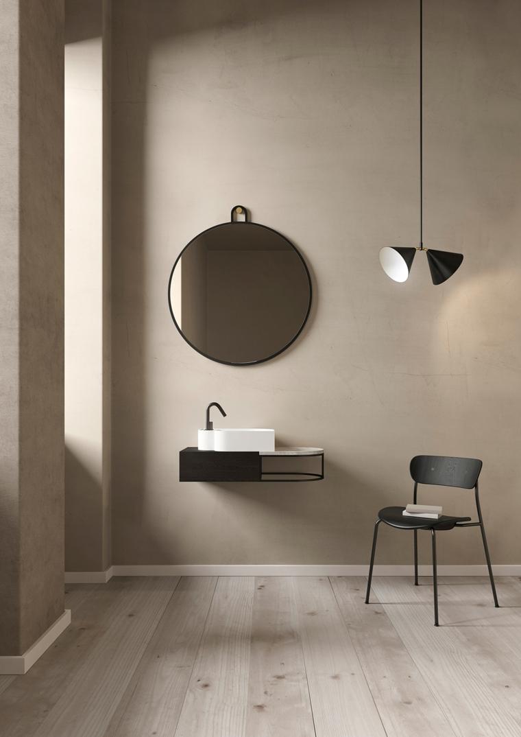 Rivestimenti bagni esempi, parete dipinta di colore grigio, lavabo appeso alla parete