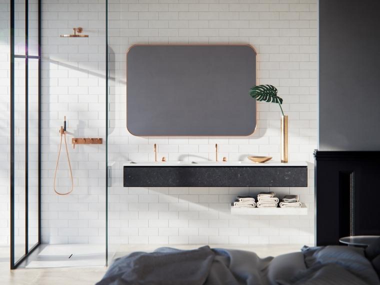 Mobile bagno moderni sospesi, specchio forma rettangolare, box doccia di vetro