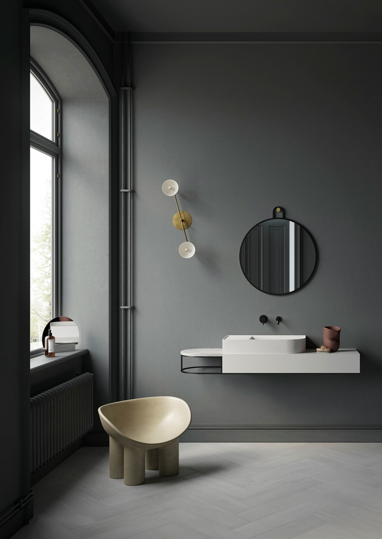 Mobili bagno salvaspazio, mobile lavabo sospeso, specchio appeso alla parete