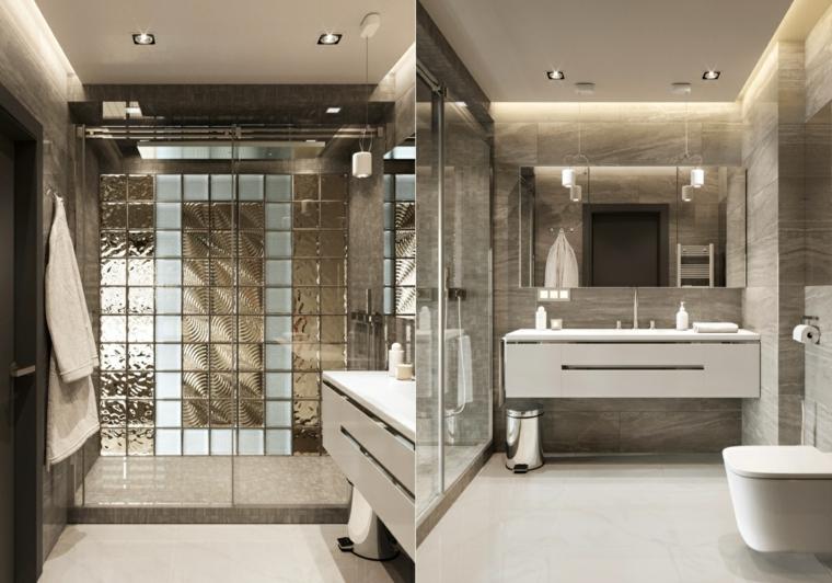 Bagni lussuosi, mobile bagno sospeso, rivestimento pareti con piastrelle colorate di grigio