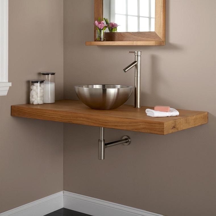 mobile legno lavabo metallo stile moderno