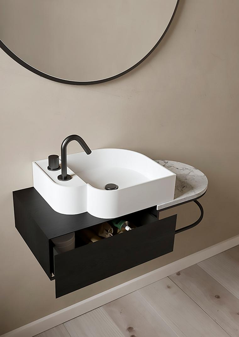 Mobili bagno moderni sospesi, lavabo da appoggio, mobile bagno con cassetto