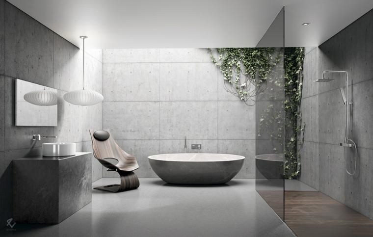 Mobile bagno salvaspazio, vasca da bagno ovale, doccia separata con vetro