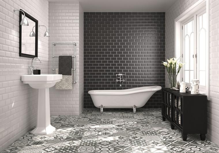 mobiletto nero piastrelle parete bianco