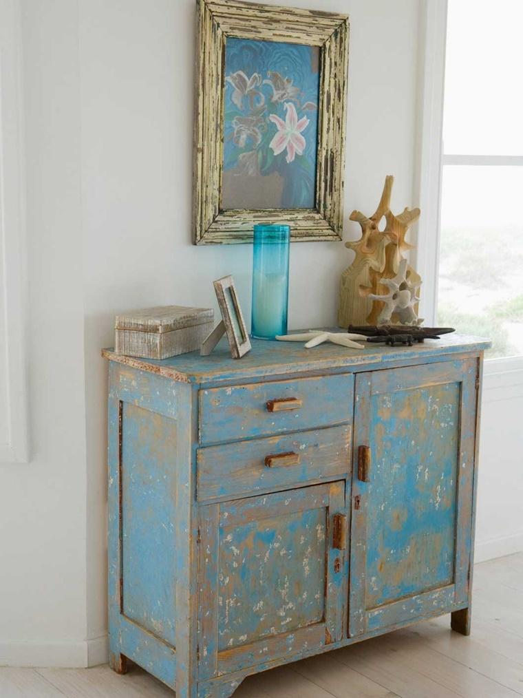 mobili antichi credenza colore blu effetto consumato