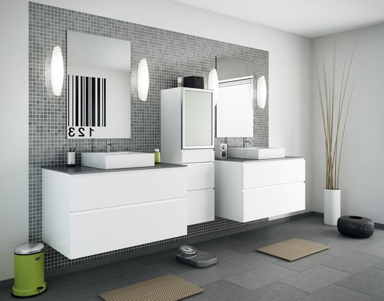 mobili bagno bianco elementi decorativi zen