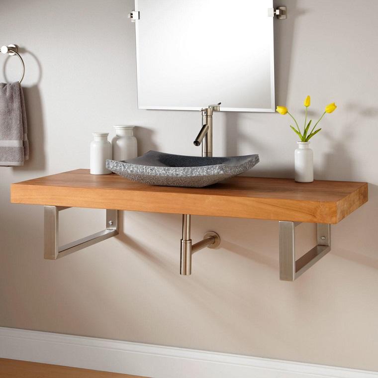 mobili bagno lavabo pietra stile moderno