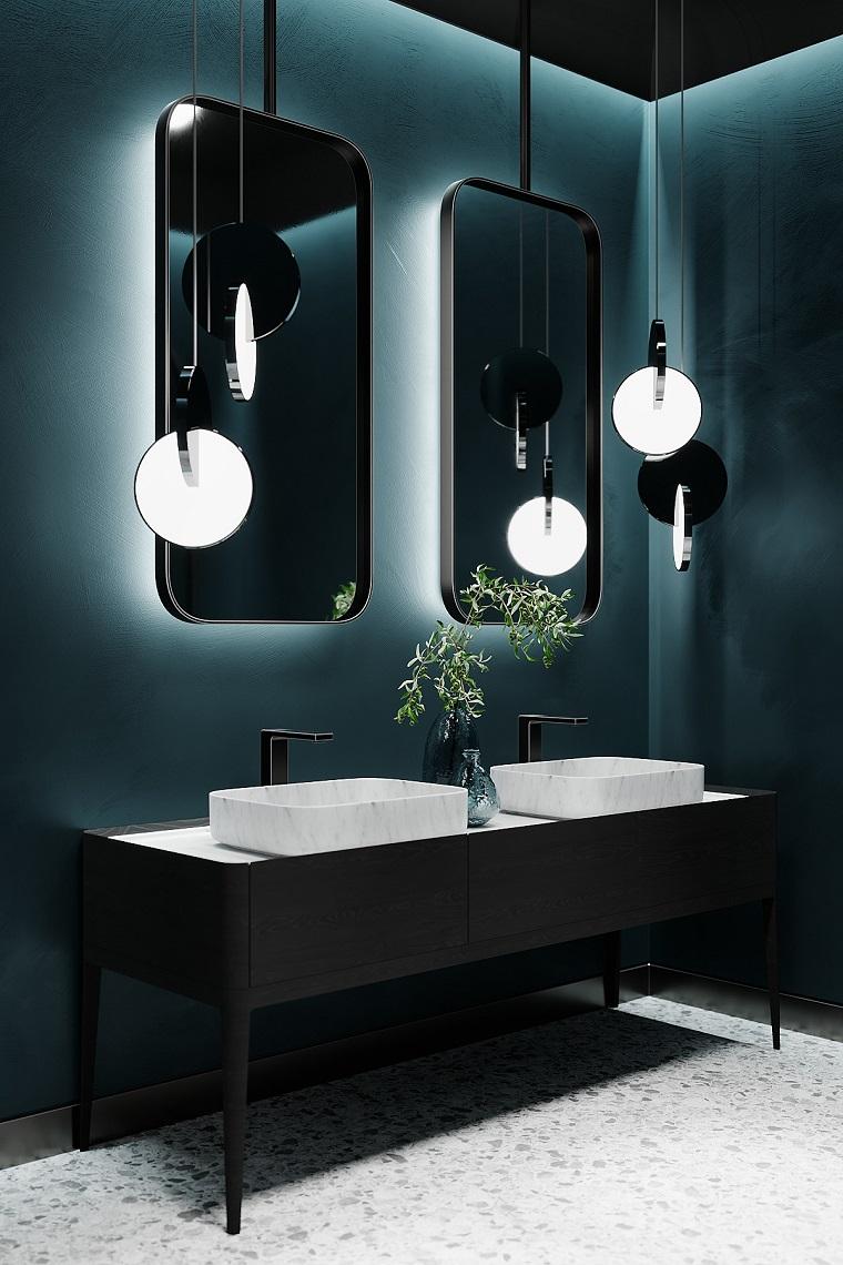 Mobile bagno doppio lavabo, due specchi con retro illuminazione, lampade in sospensione