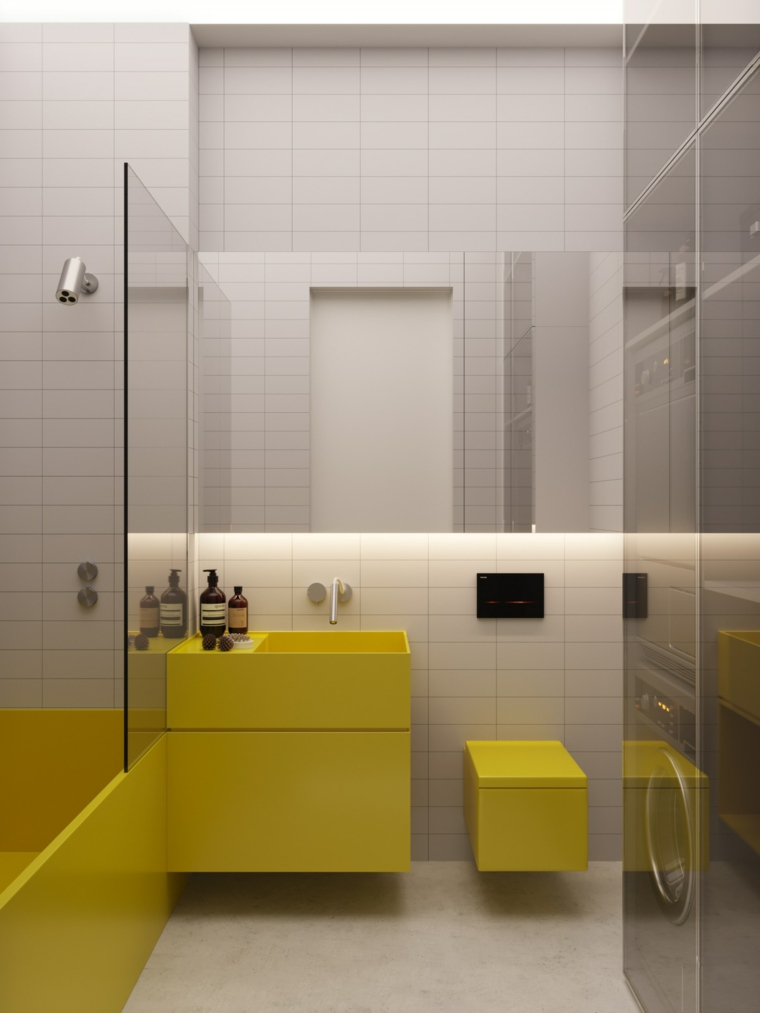 Bagni moderni grigi, mobile lavabo di colore giallo, piastrelle bagno colore grigio