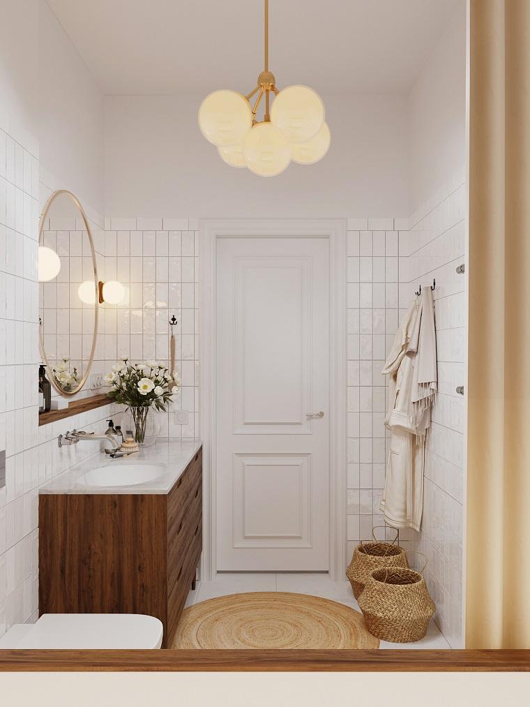 Sala da bagno con piastrelle bianche, rivestimenti bagni moderni immagini, mobile di legno con lavabo integrato