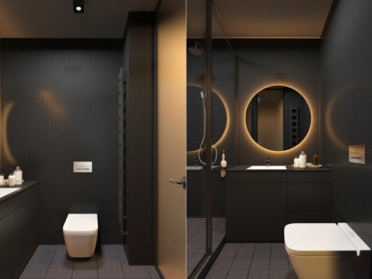 Rivestimenti bagni esempi, mobile lavabo di colore nero, specchio rotondo illuminato