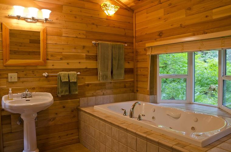 mobili bagno moderni parete legno