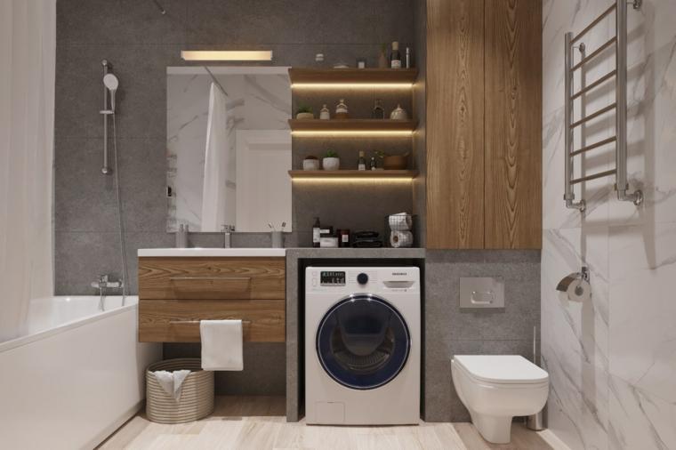 Mobile bagno legno grezzo, scaffali illuminati, armadietto con porte di legno, lavatrice in bagno