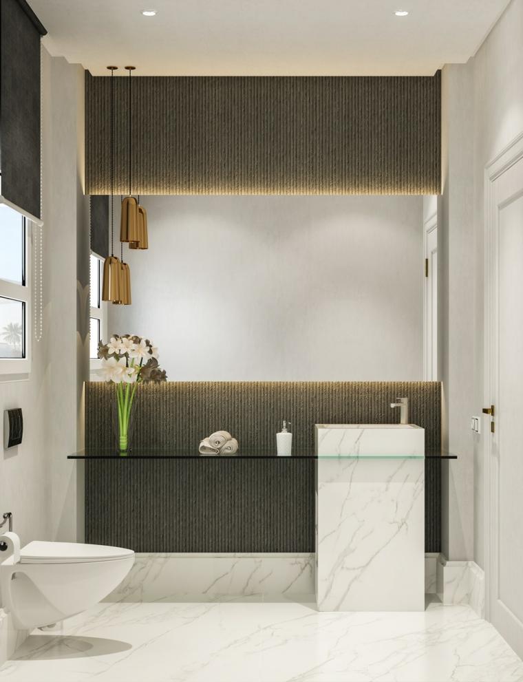 Mobile per lavabo da appoggio, mobile di vetro, bagno con rivestimenti in marmo