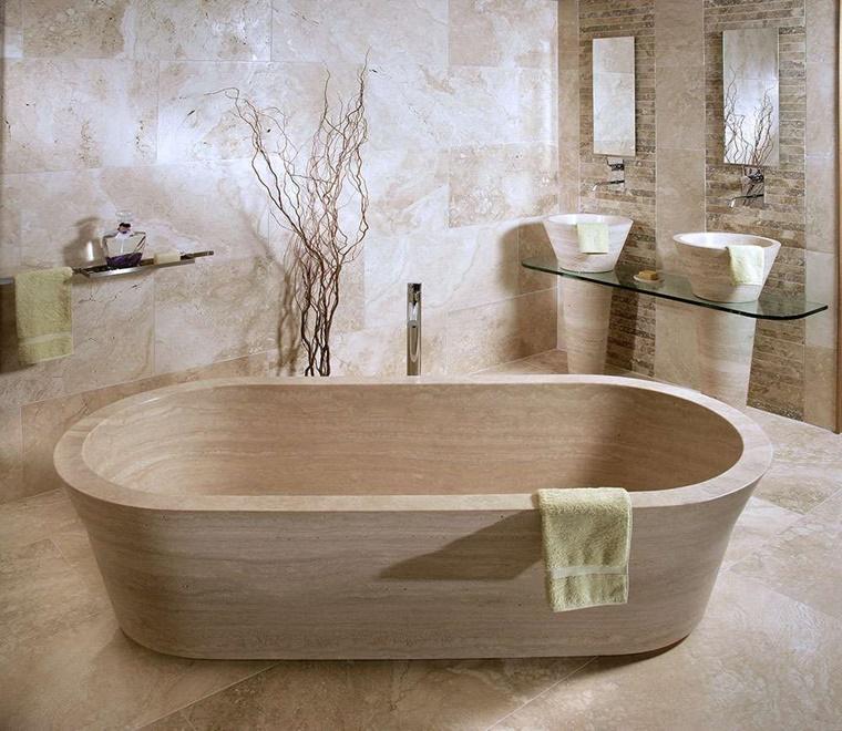 Bagno rustico con ispirazione moderna - Vasca bagno legno ...
