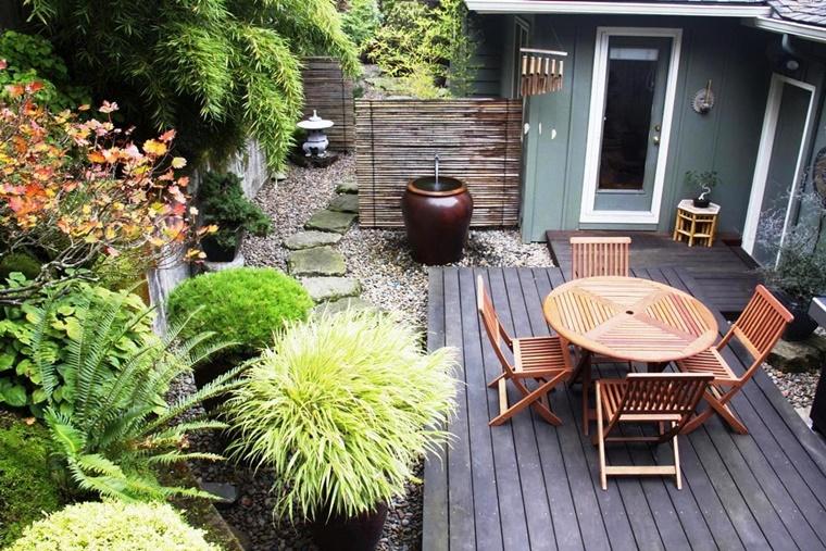 mobili da giardino legno pietre decorative pavimento
