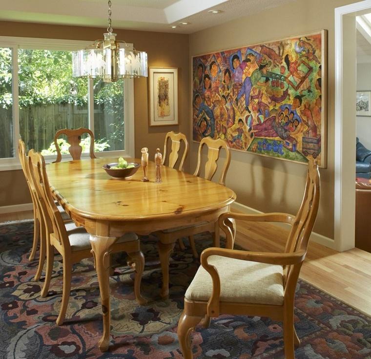 mobili legno stile classico quadro colorato