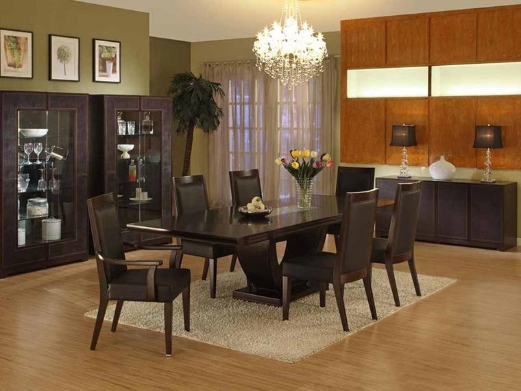 mobili moderni arredamento colore nero lampadario effetto