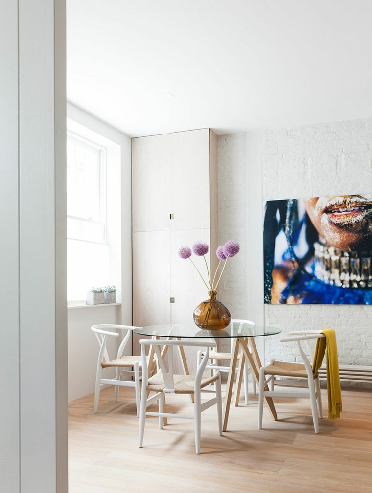 mobili sala da pranzo moderni tavolo rotondo di vetro con sedie di legno