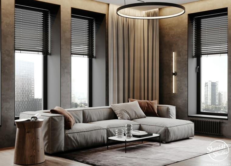 Idee pittura pareti soggiorno, un divano grigio con isola, tavolino basso bianco
