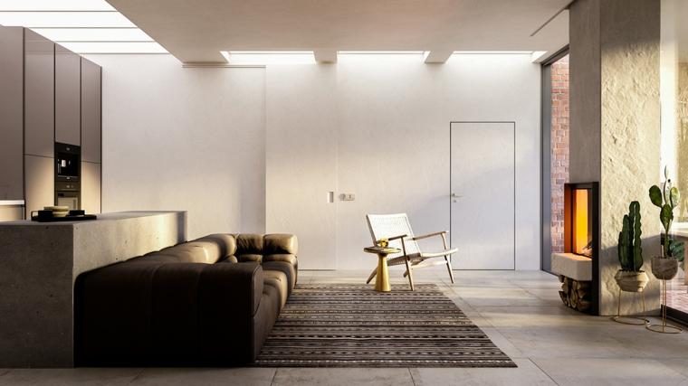 Come arredare sala e salotto insieme, divano in pelle marrone, pavimento con piastrelle tappeto