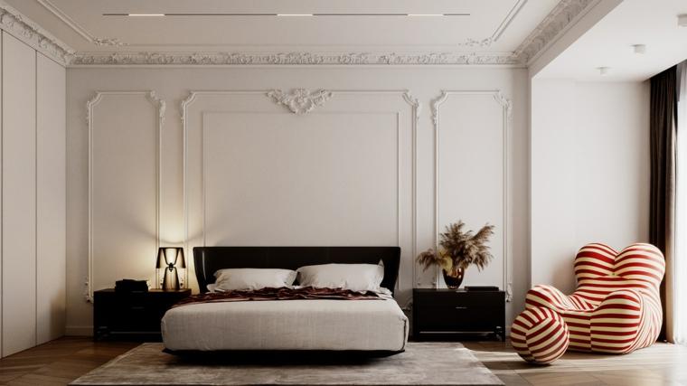 Arredamento camera da letto, pareti con ornamenti, letto e comodini di legno nero