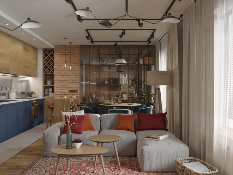 Un divano con isola accanto a due tavolini, idee pittura pareti soggiorno