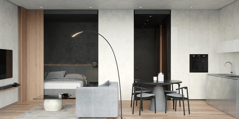 Monolocale con divano grigio, arredamento casa moderno, tavolo da pranzo con sedie