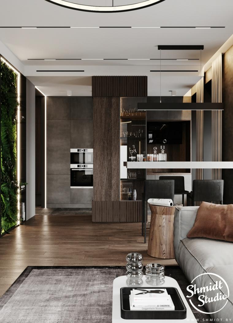 Pareti colorate soggiorno esempio, parete con piante verticali, cucina con isola