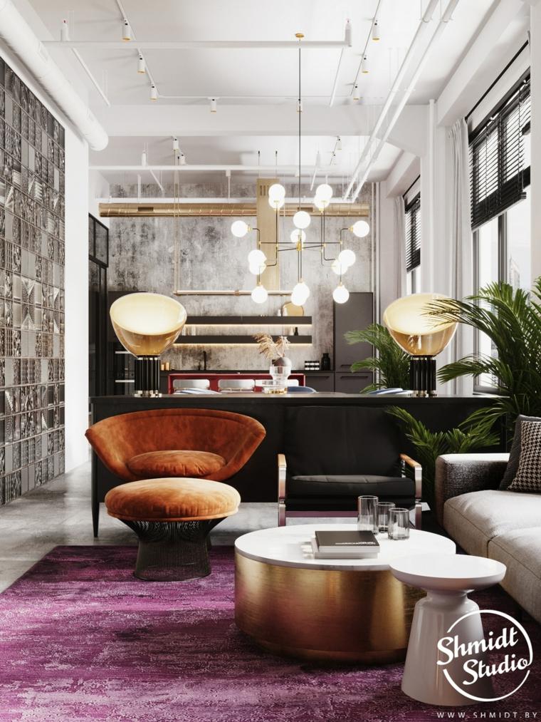Pareti colorate soggiorno esempi, soffitto con faretti, cucina con isola centrale