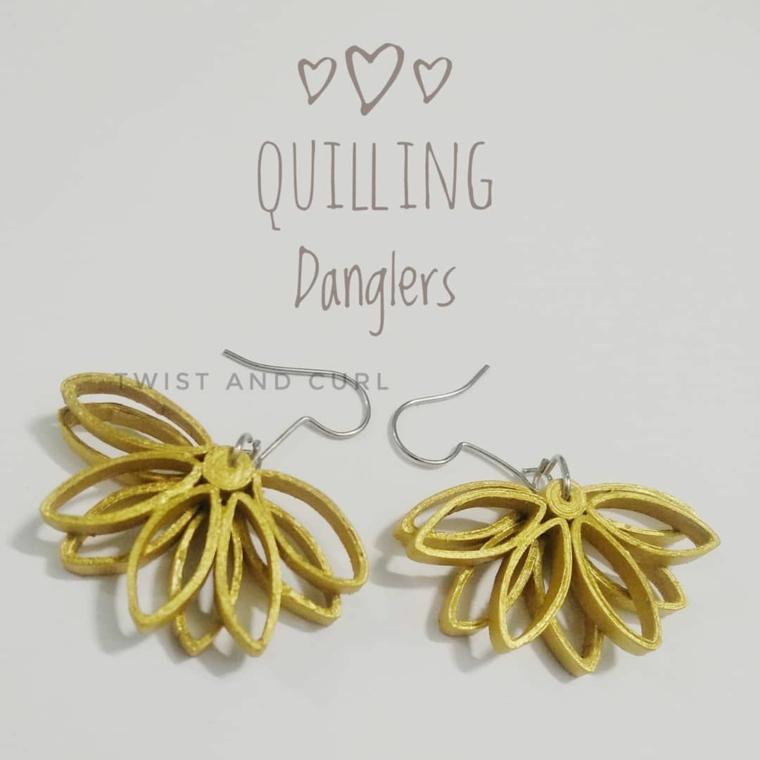 orecchini di colore giallo realizzati con quilling regali economici ma d effetto