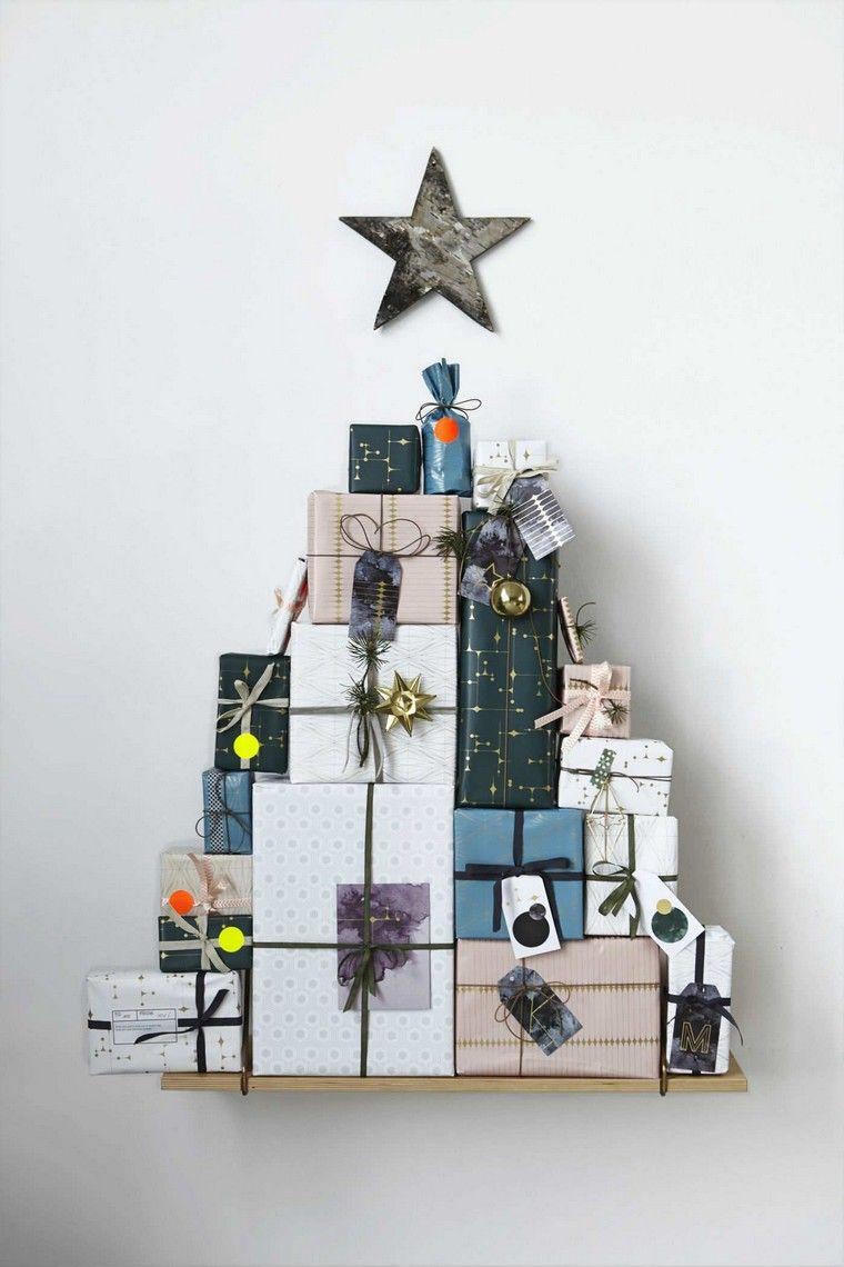 Pacchi regalo a forma di albero, mensola di legno, alberi di Natale 2019 tendenze