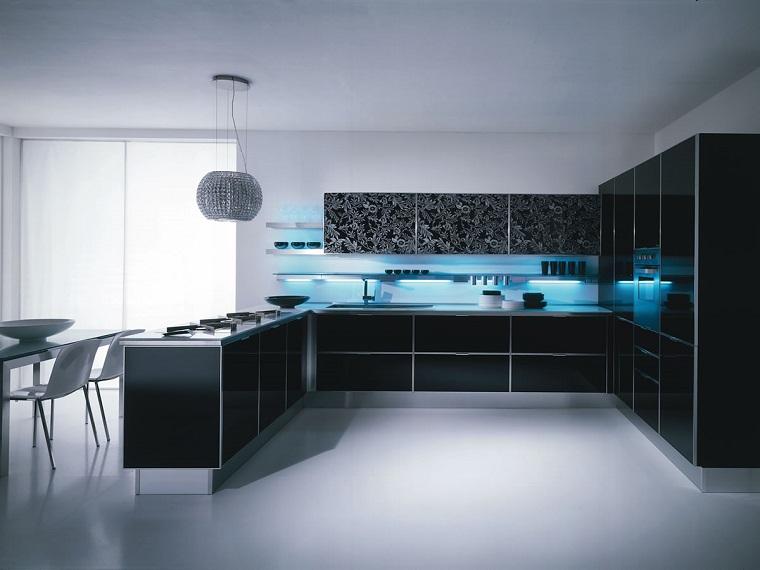 paraschizzi cucina luci blu sospese