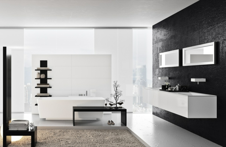 Mobile bagno sospeso da parete, sala da bagno con vasca, rivestimenti bagni moderni immagini