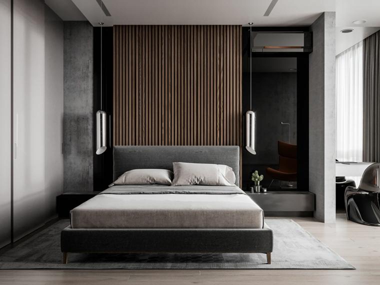 Arredamento camera da letto, parete dietro il letto di legno, lampade sospese, pavimento con tappeto