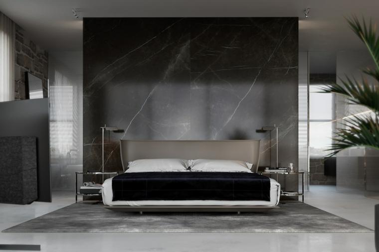 Parete in marmo nero grigio, testata letto in legno grigio, progettare camera da letto