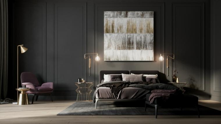 Idee per dipingere stanza da letto, pareti di colore grigio, quadro con disegno astratto