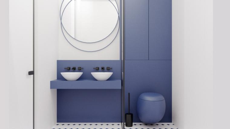 Mobili bagno moderni sospesi, armadietto con porte blu, specchio forma rotonda