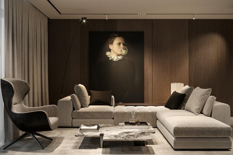 Soggiorno moderno con divano, tavolino basso in marmo, pareti rivestite in legno
