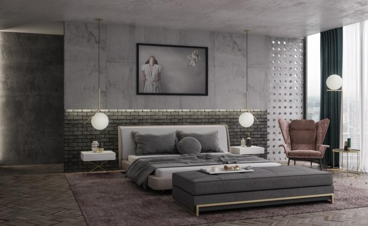 Parete effetto pietra, pareti con carta da parati, lampade sfere bianche, stanze da letto moderne per ragazze