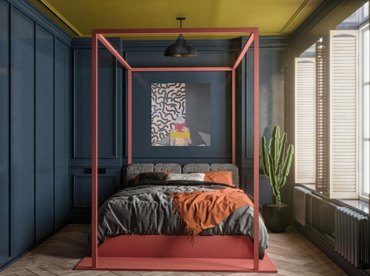 Camere da letto matrimoniali moderne, soffitto colore giallo, pareti di legno blu