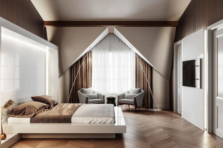 Parete in cartongesso a triangolo, pavimento in legno chiaro, camere da letto moderne bianche