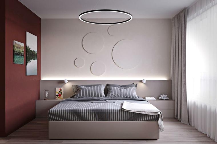 Progettare camera da letto, pareti di rosso e bianco, lampadario ad anello, pavimento in legno parquet