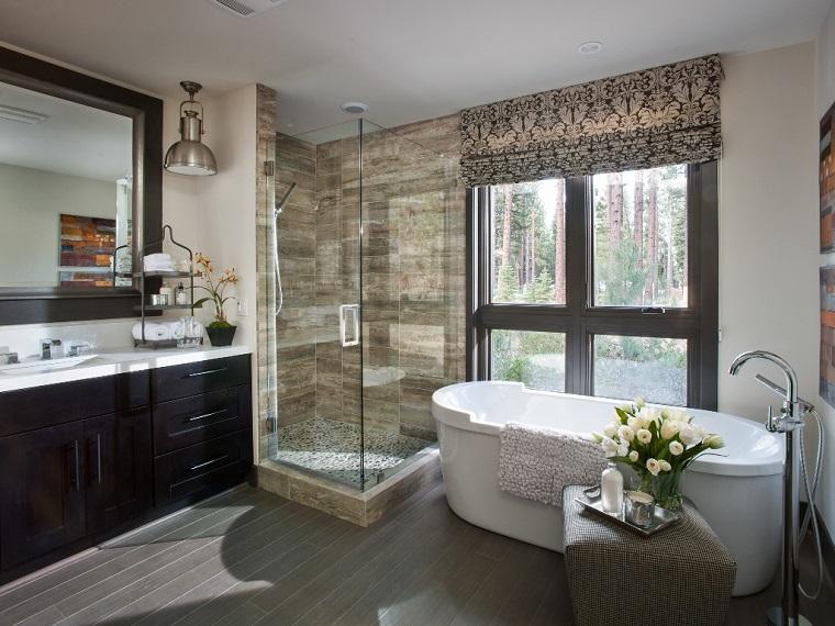 parquet bagno decorazioni chic pietra doccia