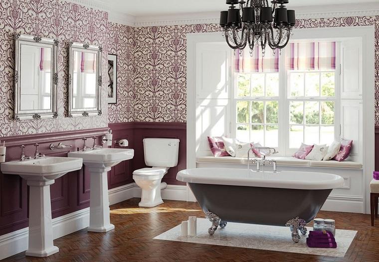 parquet bagno piastrelle color lavanda