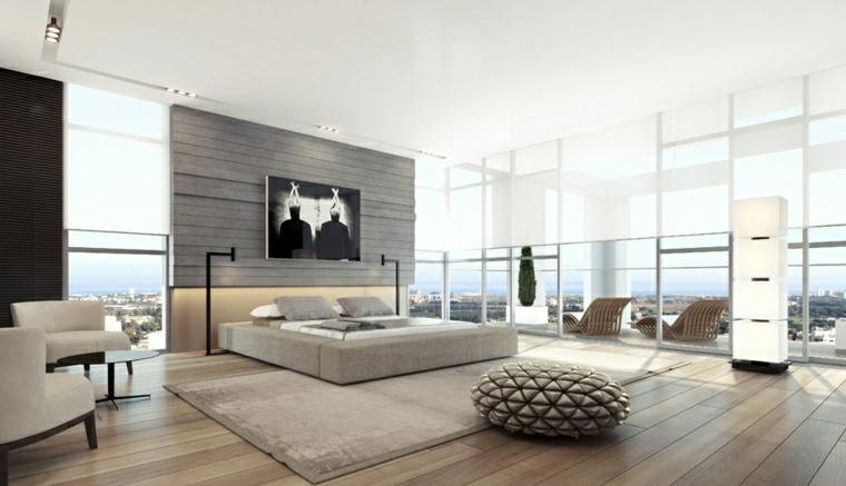 Camera da letto con finestre, faretti sul soffitto, pavimento in legno zona notte grande