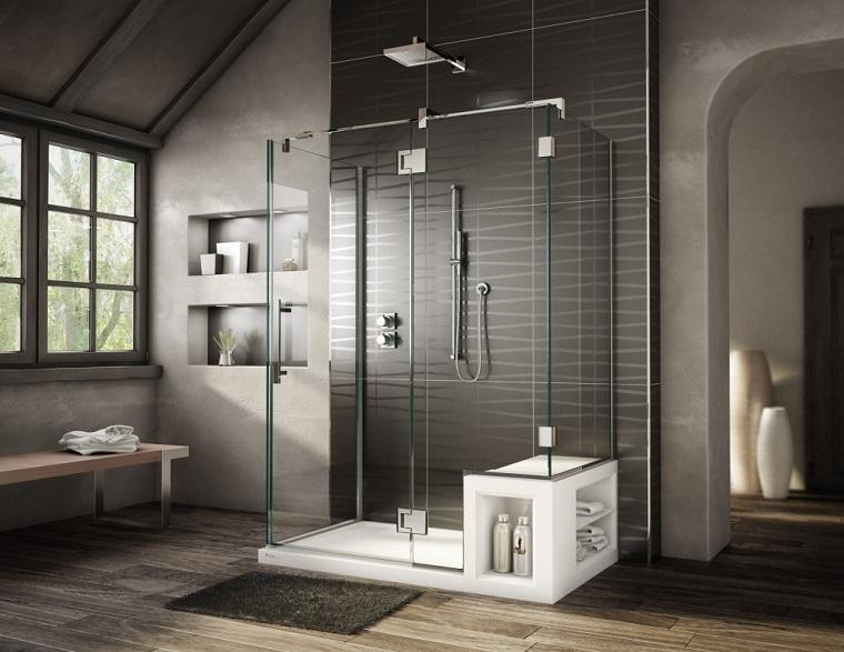 pavimento parquet bagno ampio box doccia