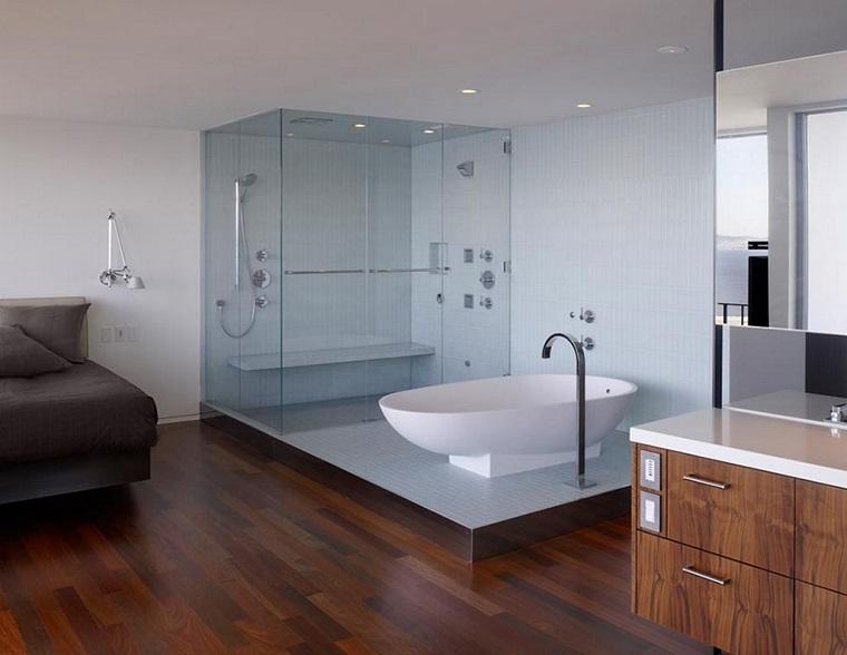 pavimento parquet bagno camera stile moderno