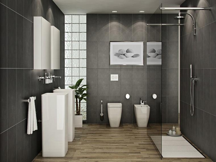 pavimento parquet bagno sanitari bianchi piastrelle grigie